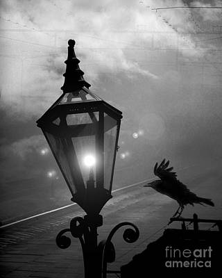Ravens And Crows Photograph - Surreal Gothic Raven With Night Stars Lantern - Haunting Raven Black And White Night Lights by Kathy Fornal
