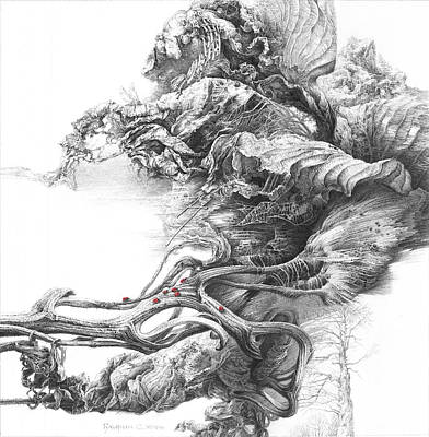 Conceptual Drawing - Surreal Space. Dry Leaves Series by Sergey Gusarin