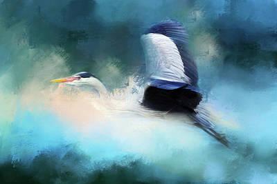 Stork Mixed Media - Surreal Stork In A Storm by Georgiana Romanovna