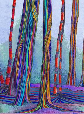 Dreamlike Drawing - Surreal Trees by Anne Rickard