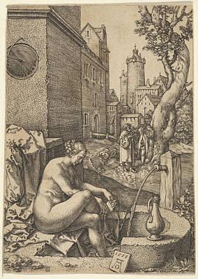 Heinrich Aldegrever Drawing - Susanna Surprised By The Elders by Heinrich Aldegrever
