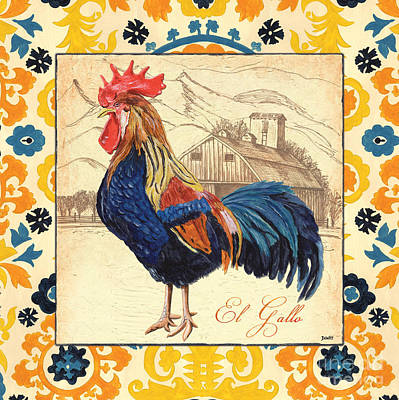 Farm Fields Painting - Suzani Rooster 1 by Debbie DeWitt