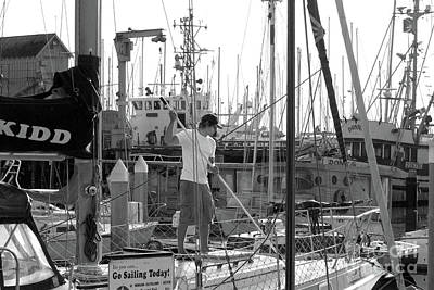 Sailboats In Harbor Photograph - Swabbing The Deck by Betty LaRue