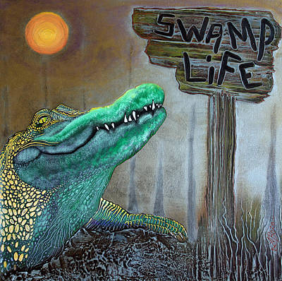 Alligator Mixed Media - Swamp Life by Laura Barbosa