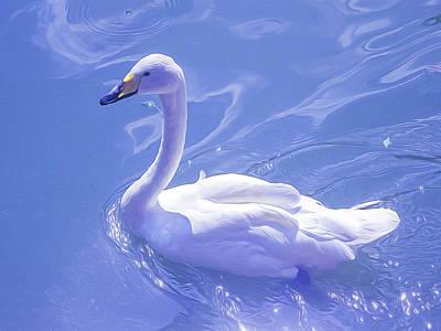 Swan Digital Art - Swan Amazing, Style Oil Painting by Nat Air Craft