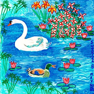 Sue Burgess Painting - Swan And Duck by Sushila Burgess