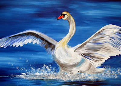 Wall Hanging Drawing - Swan by Cathy Jacobs