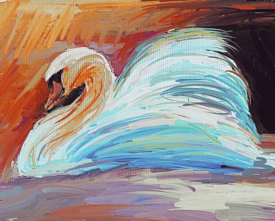 Swan Colorful Print by Yury Malkov