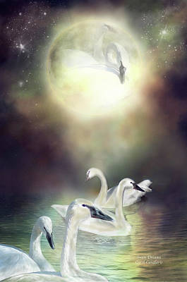 Swan Dreams Print by Carol Cavalaris