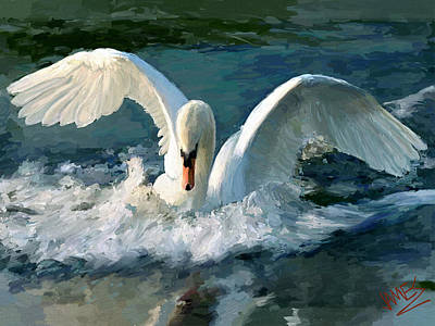 Swan Digital Art - Swan Lake by James Shepherd