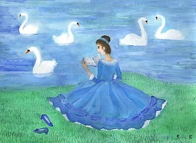 Sue Burgess Painting - Swan Lake Reader by Sushila Burgess