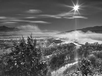 Swan Valley Winter Black And White Print by Leland D Howard