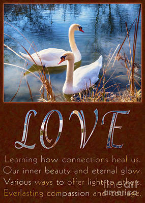 Swans And Love Motivational Artwork By Omashte Print by Omaste Witkowski