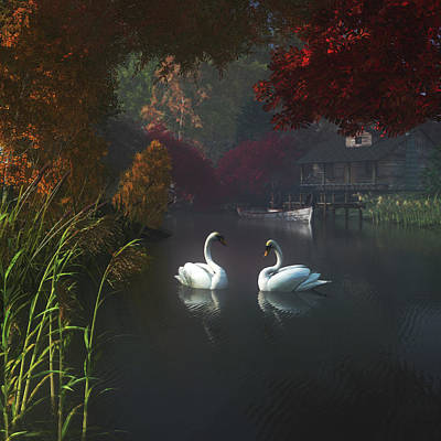Swan Painting - Swans In A River Near Home by Jan Keteleer