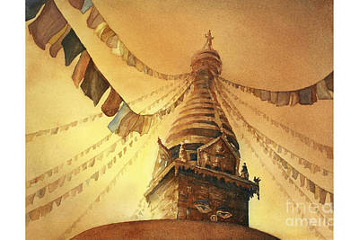 Swayambhnath Buddist Stupa- Nepal Original by Ryan Fox