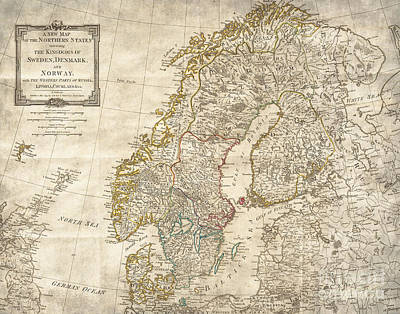 Helsinki Finland Digital Art - Sweden Norway Denmark Antique Vintage Map by ELITE IMAGE photography By Chad McDermott
