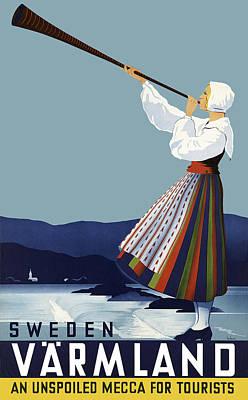 Sweden Digital Art - Sweden Varmland Vintage Travel by Daniel Hagerman