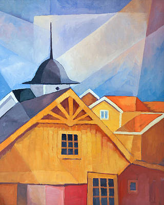 Carpenter Painting - Swedish Village by Lutz Baar