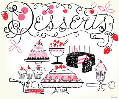Sweet And Lovely Desserts Print by Little Bunny Sunshine