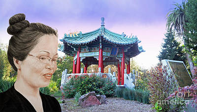 Blouse Mixed Media - Sweet Asian Woman By The Pagoda In Golden Gate Park  by Jim Fitzpatrick