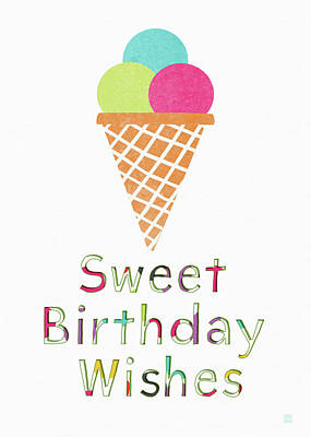 Sweet Birthday Wishes- Art By Linda Woods Print by Linda Woods