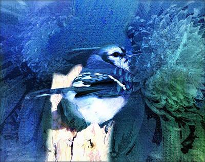 Bluejay Mixed Media - Sweet Blue Bird by Georgiana Romanovna