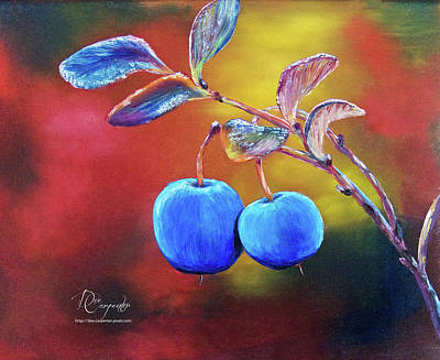 Blueberry Painting - Sweet Blueberries by Dee Carpenter