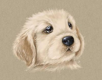 Digital Painting - Sweet Little Dog by Veronica Minozzi