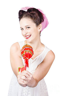 Sweet Lolly Shop Lady Offering Over Red Lollipop Print by Jorgo Photography - Wall Art Gallery