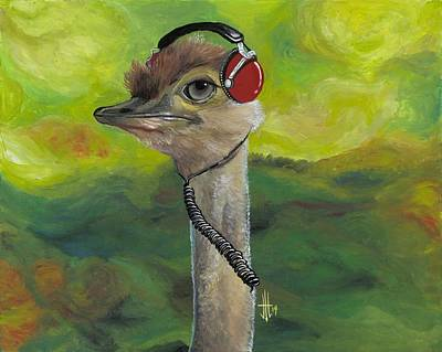 Music Ipod Painting - Sweet Pam The Jam Ostrich by Joshua Modlin