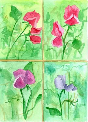 Lavender Drawing - Sweet Peas Window by Cathie Richardson
