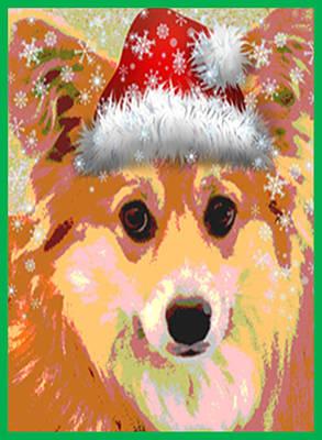 Pembroke Welsh Corgi Digital Art - Sweet Santa Corgi by Kathy Kelly