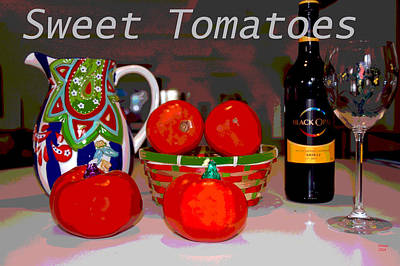 Glass Of Wine Mixed Media - Sweet Tomatoes by Charles Shoup
