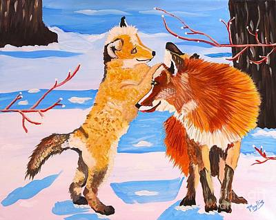 Fox Kit Painting - Sweet Vixen And Kit Foxes by Phyllis Kaltenbach