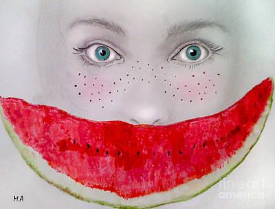 Watermelon Drawing - Smile by Maria Hakobyan