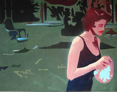 1950s Movies Painting - Sweet Woman With Bathing Cap by Geoff Greene