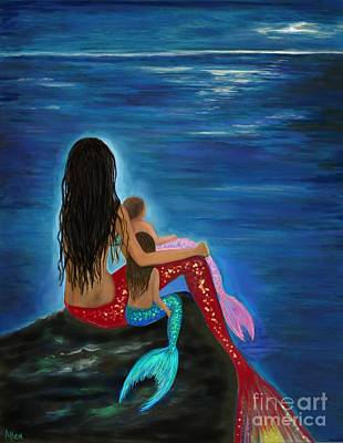 Painting - Sweetest Mermaid Girls by Leslie Allen