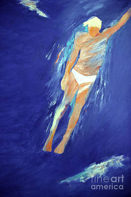 Free Form Painting - Swimmer Ascending by Lisa Baack
