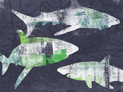 Wood Fish Painting - Swimming With Sharks- Art By Linda Woods by Linda Woods