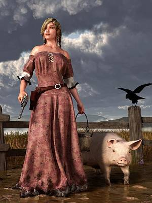 Frontier Farm Digital Art - Swineherdess by Daniel Eskridge