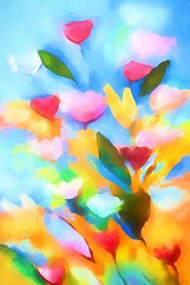 Serenade Painting - Swinging Flowers by Lutz Baar
