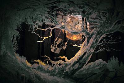 Tree Digital Art - Swinging Through The Forest By Moonlight by John Haldane