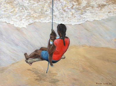 Swing Painting - Swinging With Mom by Vaughn Tucker