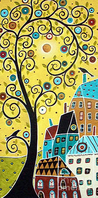 Primitive Painting - Swirl Tree Two Birds And Houses by Karla Gerard
