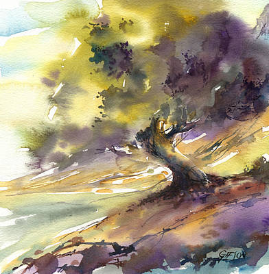 Wet Into Wet Watercolor Painting - Swirling Tree by Andrew Geeson