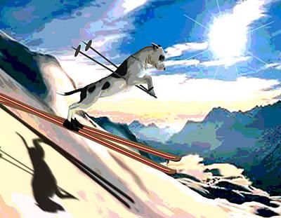 Ski Painting - Swiss Alps by Jann Paxton