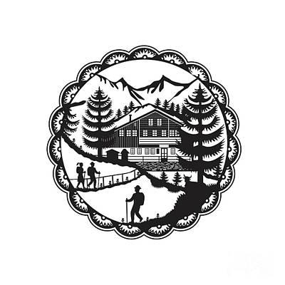 Decoupage Digital Art - Swiss Chalet Alpine Hiker Decoupage by Aloysius Patrimonio