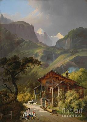 Besancon Painting - Swiss Mountain Landscape  by Celestial Images