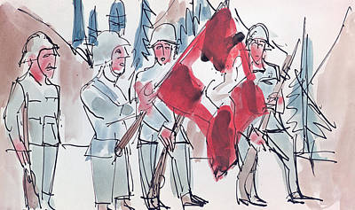 Watercolor With Pen Painting - Swiss Soldiers With Flag by Ernst Ludwig Kirchner