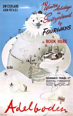 Switzerland Mixed Media - Switzerland Adelboden Vintage Travel Poster by Carsten Reisinger